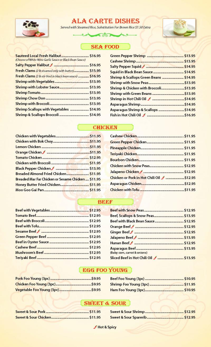 Lee\'s Chinese Restaurant - scroll down to view menu